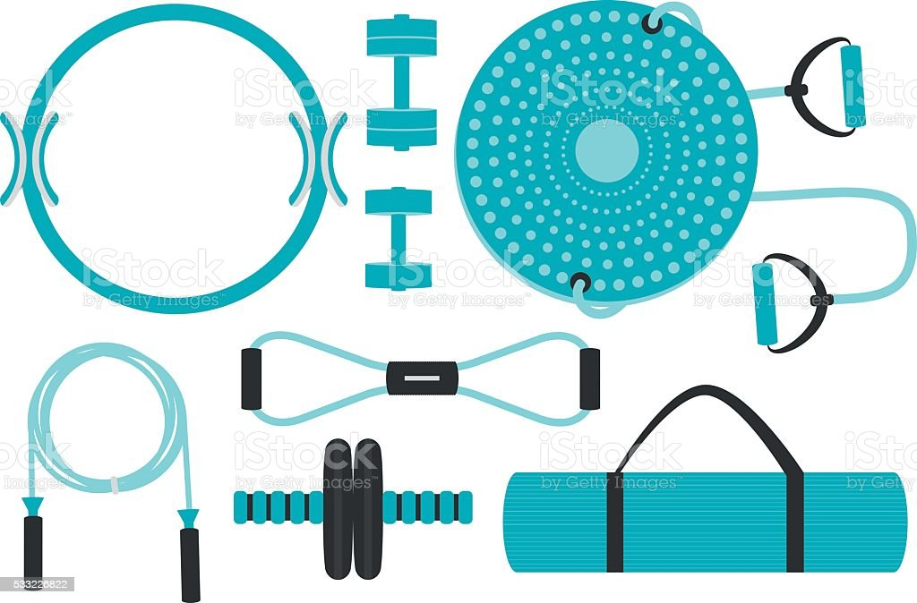 Set of fitness accessories for aerobics and pilates. vector art illustration