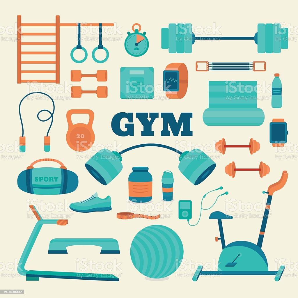 Set of fitness equipment. vector art illustration