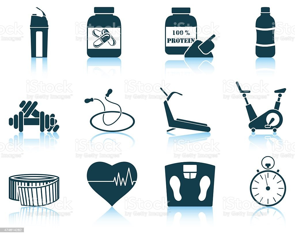 Set of fitness icon vector art illustration