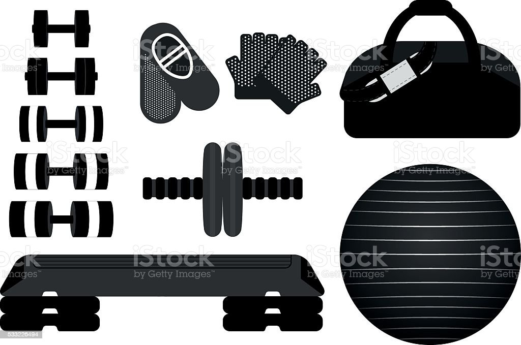 Set of fitness tools for aerobics and pilates. vector art illustration