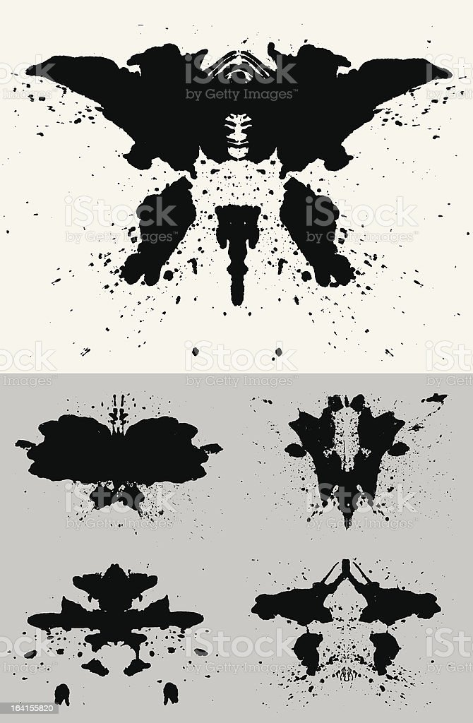 A set of five black and white Rorschach tests royalty-free stock vector art
