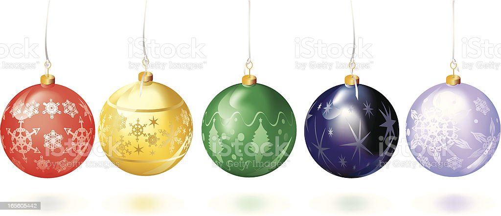 Set of Five Different Colored Christmas Baubles Brights royalty-free stock vector art
