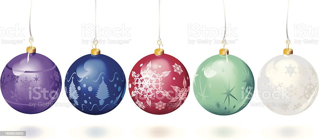 Set of Five Different Colored Christmas Baubles royalty-free stock vector art