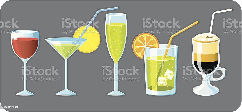 Set of five different glasses with drinks royalty-free stock vector art