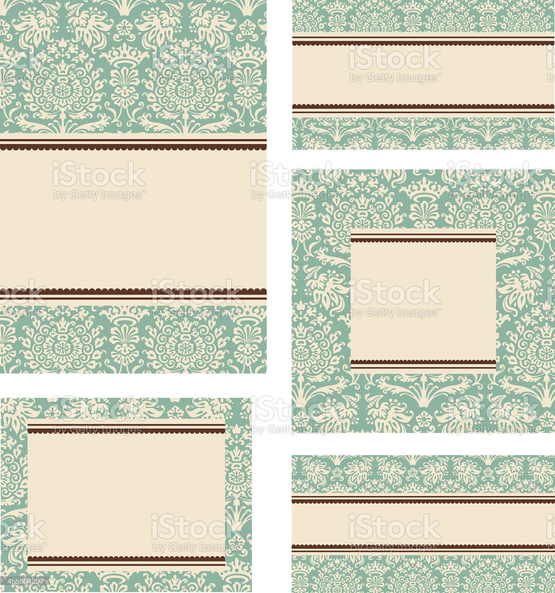 Set of five different sizes blank card designs royalty-free stock vector art