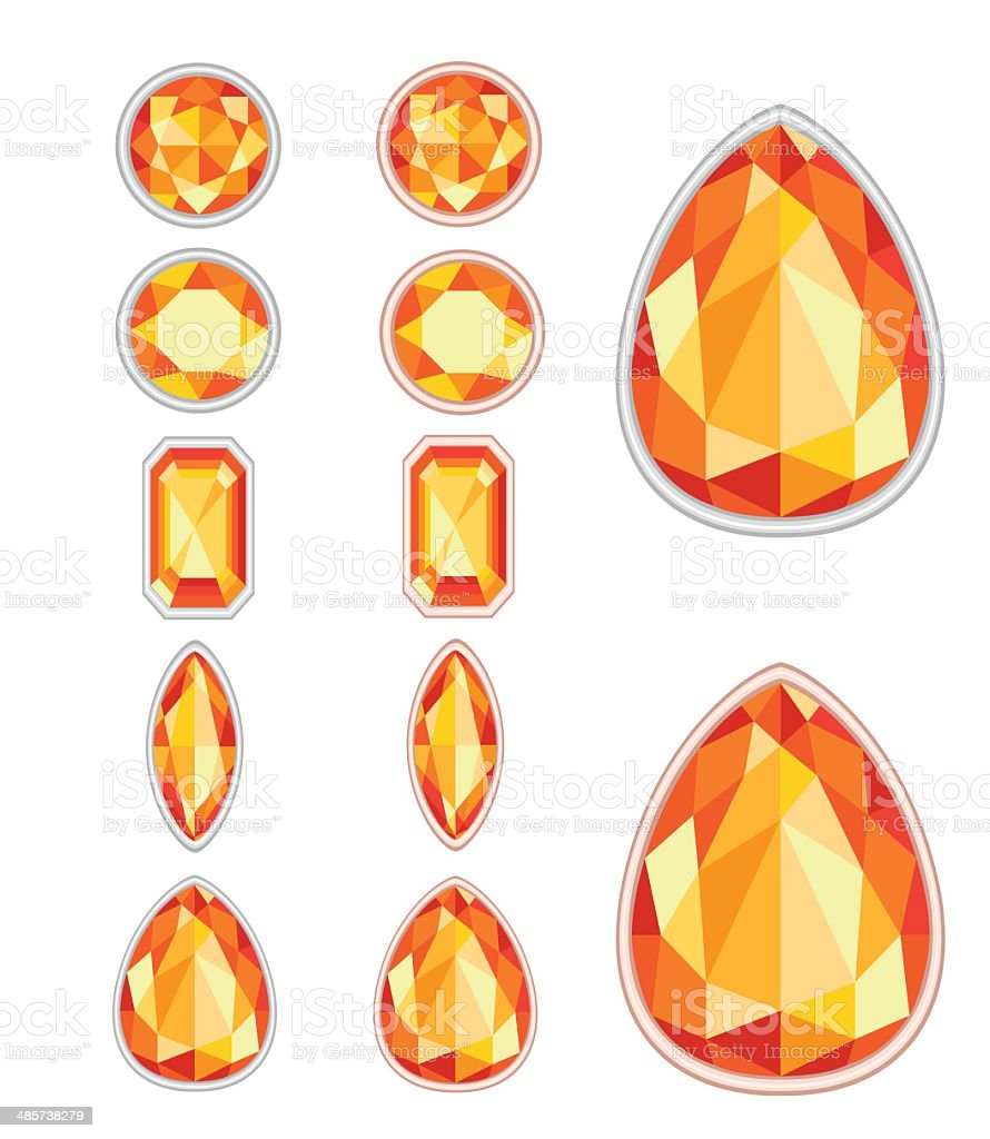 set of five forms of amber cut royalty-free stock vector art