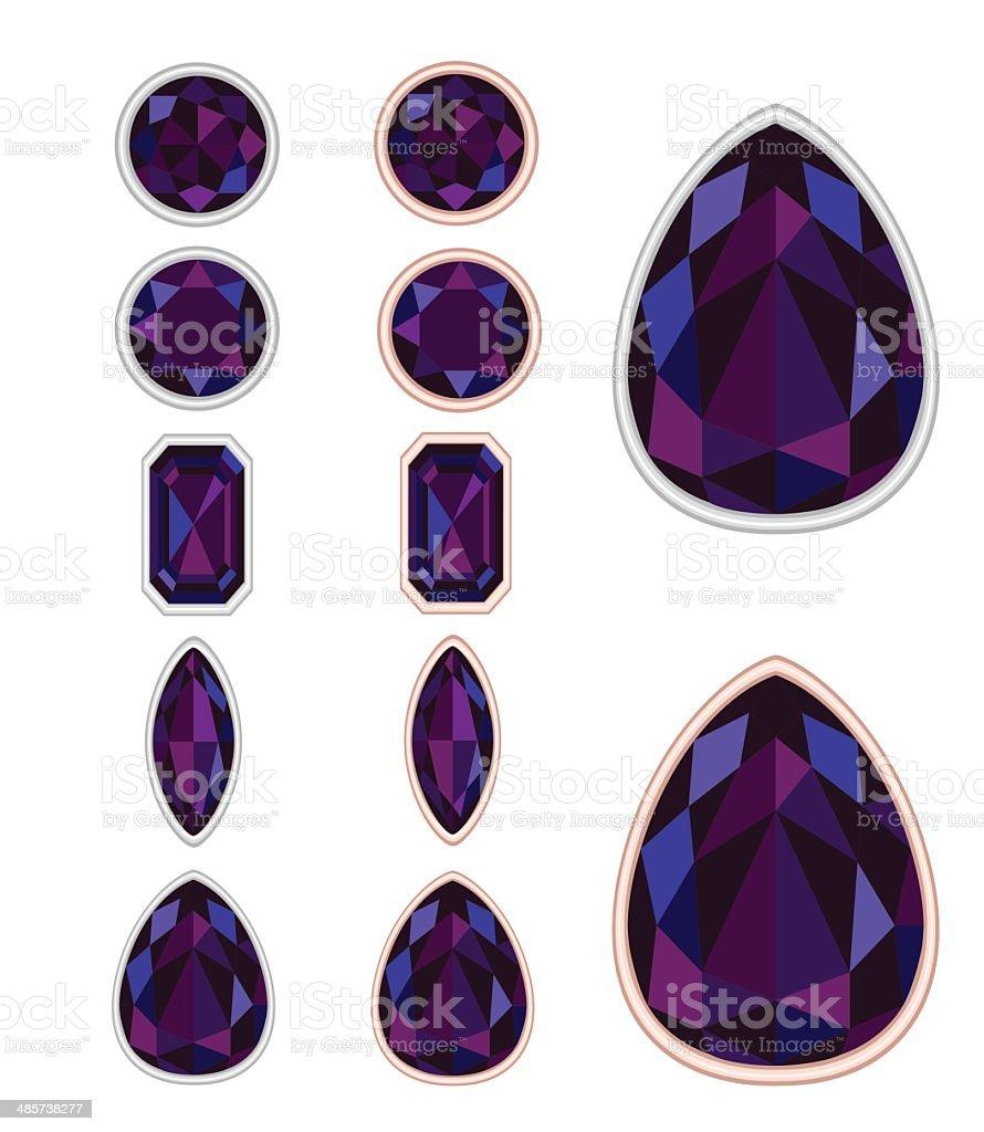 set of five forms of black opal cut vector art illustration