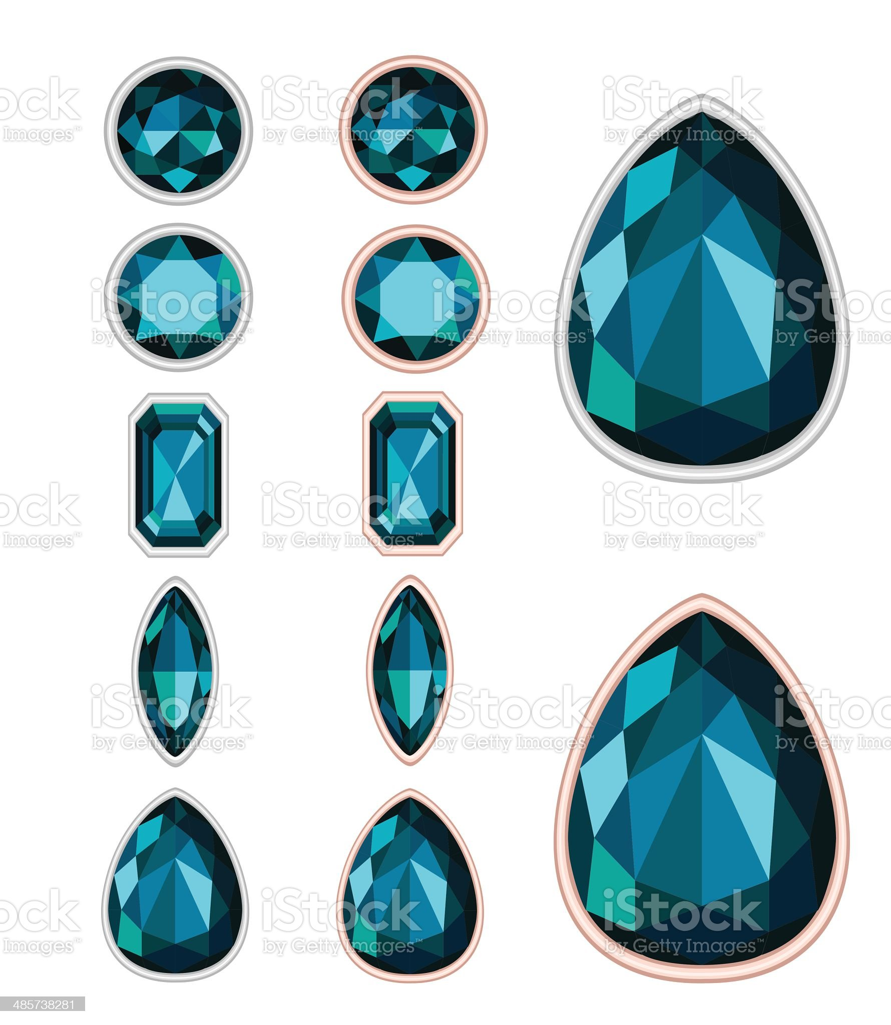 set of five forms of dark green gemstone cut royalty-free stock vector art
