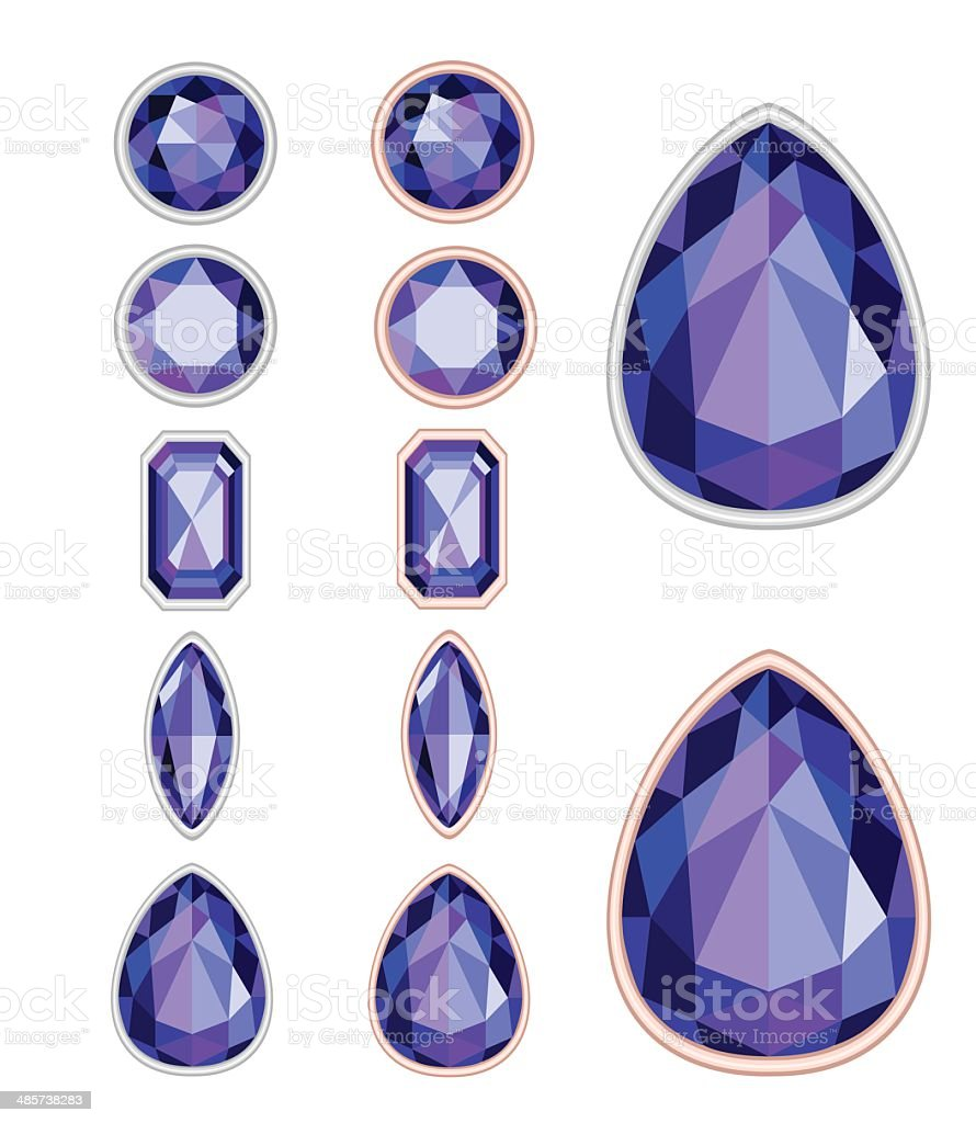 set of five forms of violet gemstone cut royalty-free stock vector art