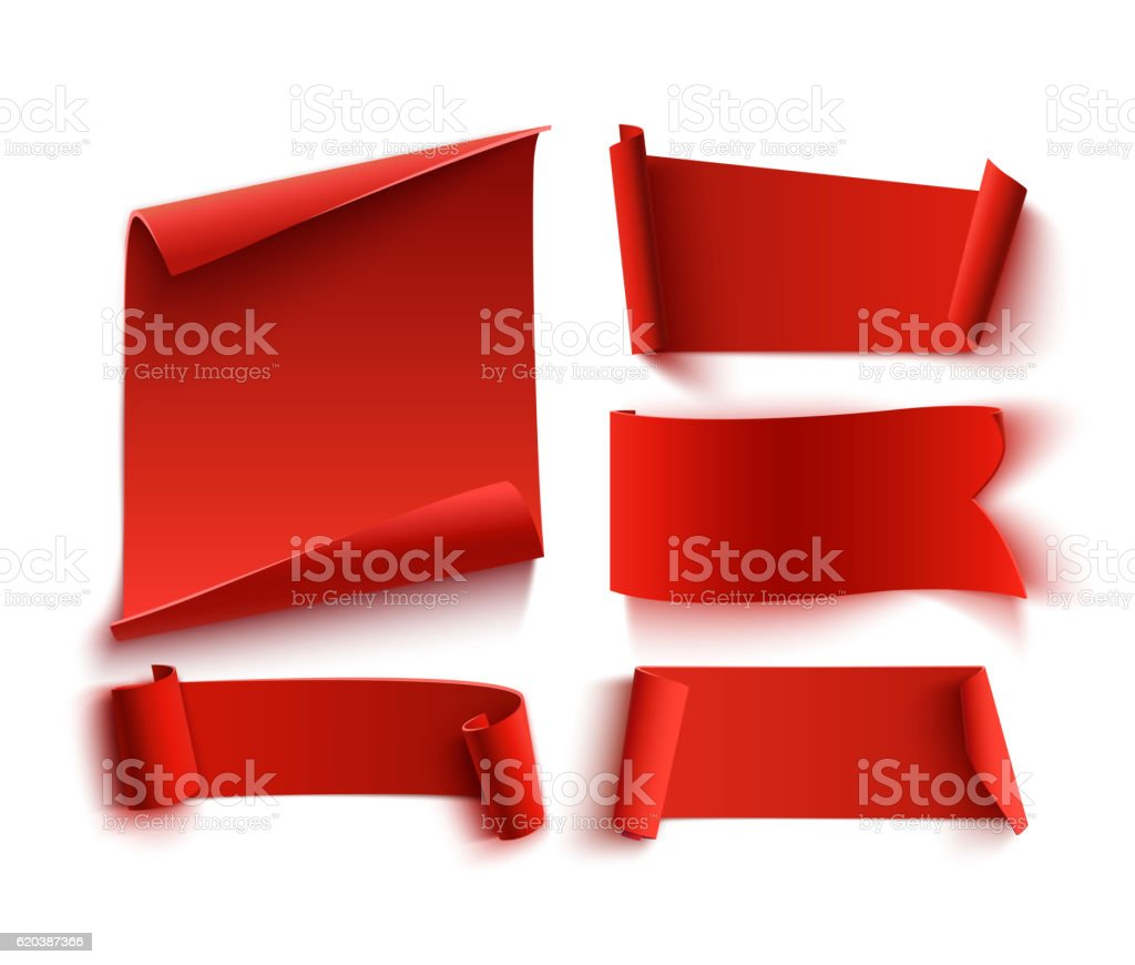 Set of five red, realistic, paper banners. vector art illustration