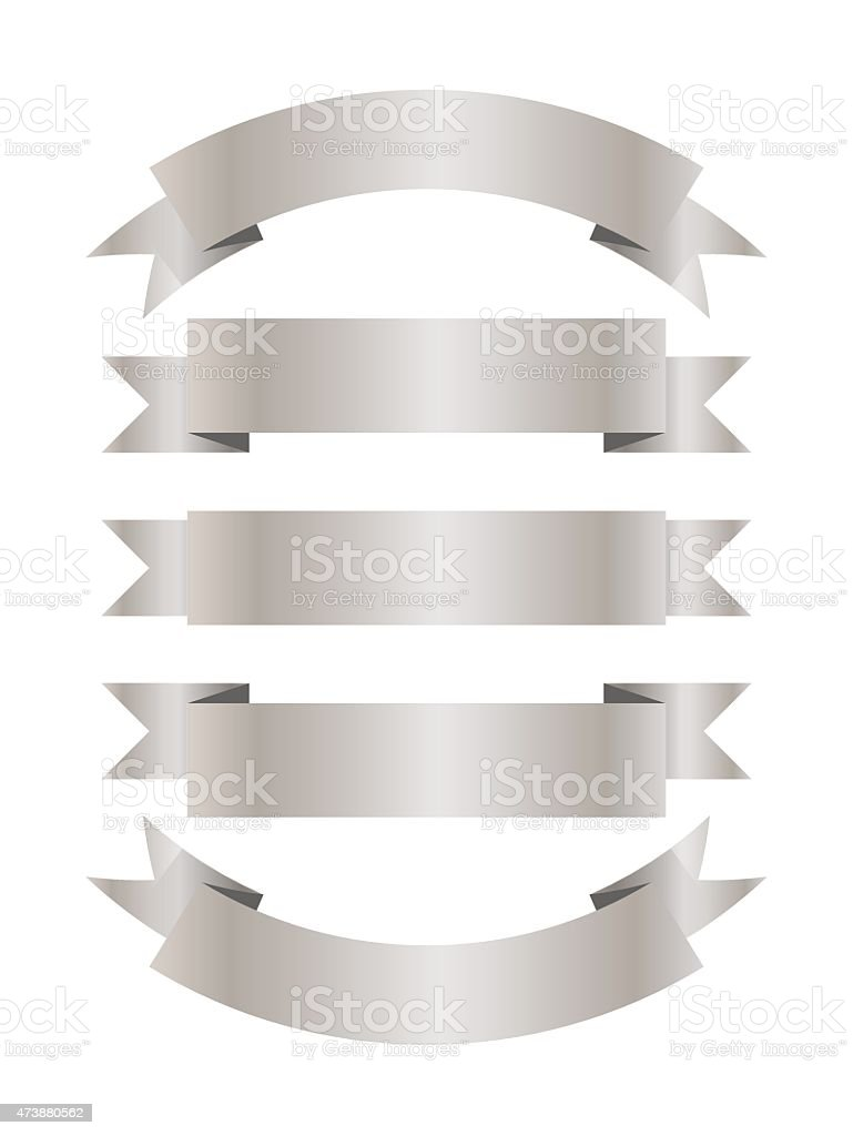 Set of five silver ribbons vector art illustration