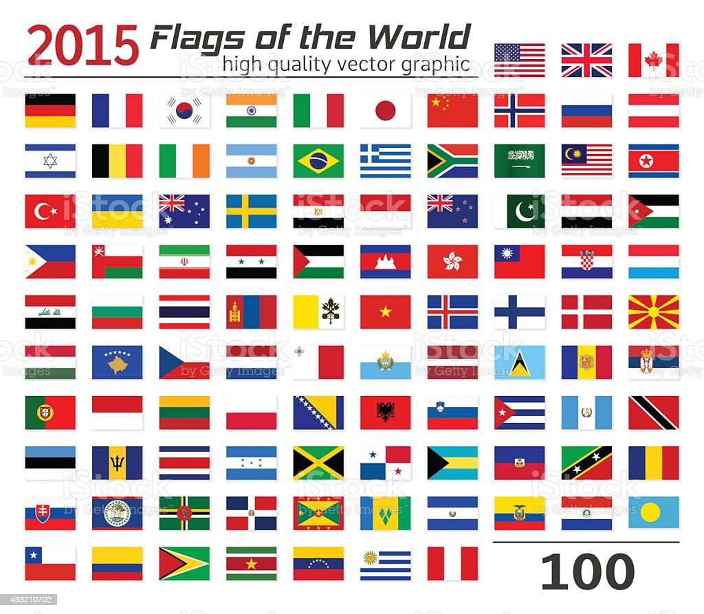 Set of flags of different countries. vector art illustration