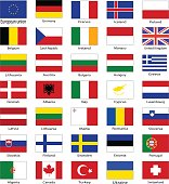 Set of flags of the Europe