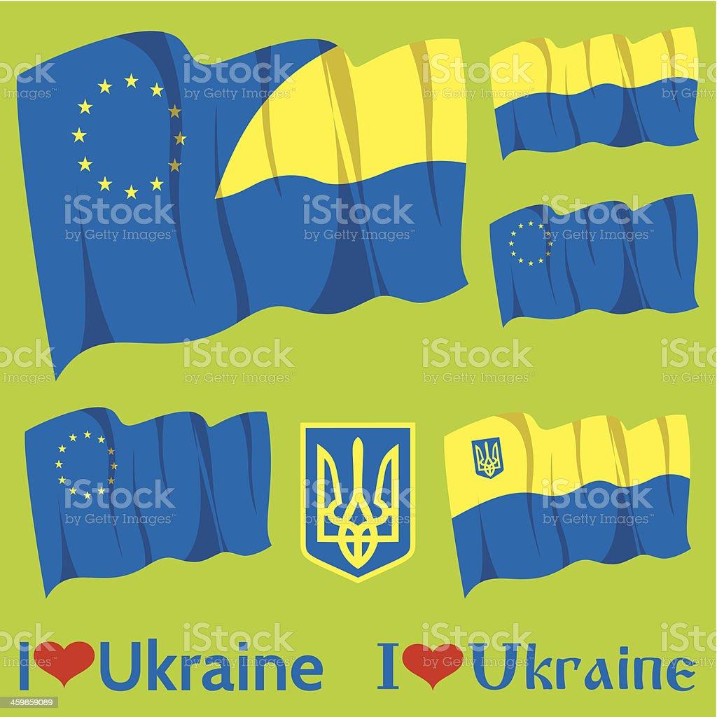 set of flags Ukraine and EU royalty-free stock vector art