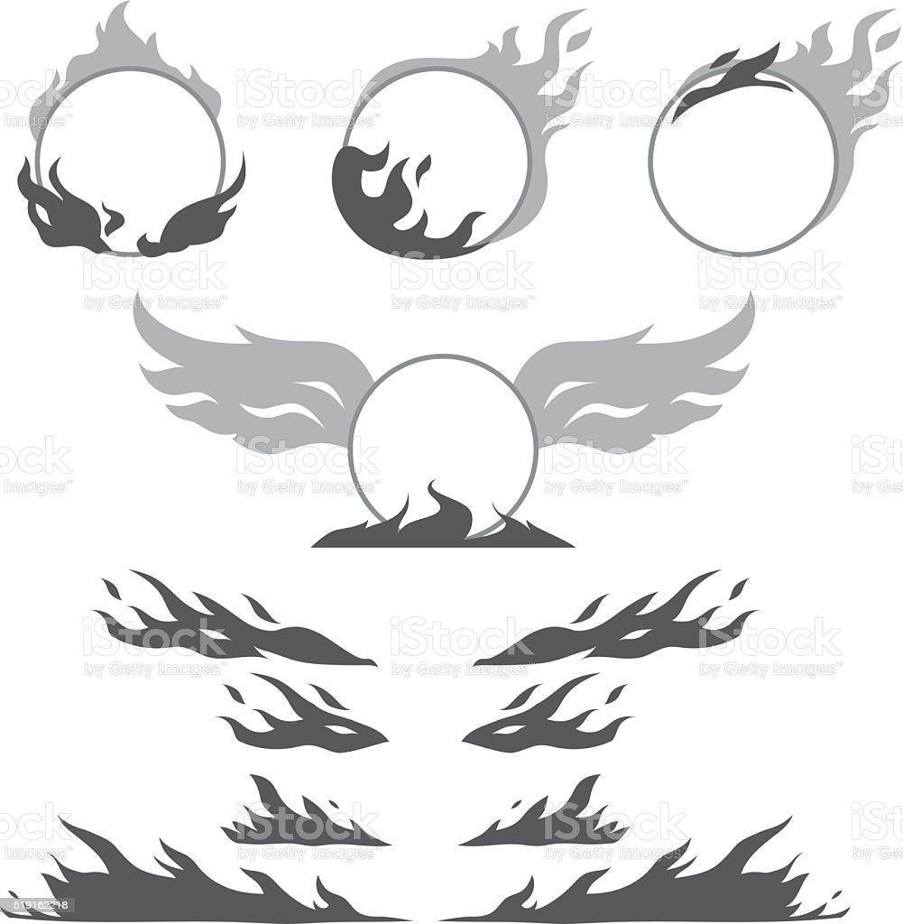 Set of flame forms for create logotype vector art illustration