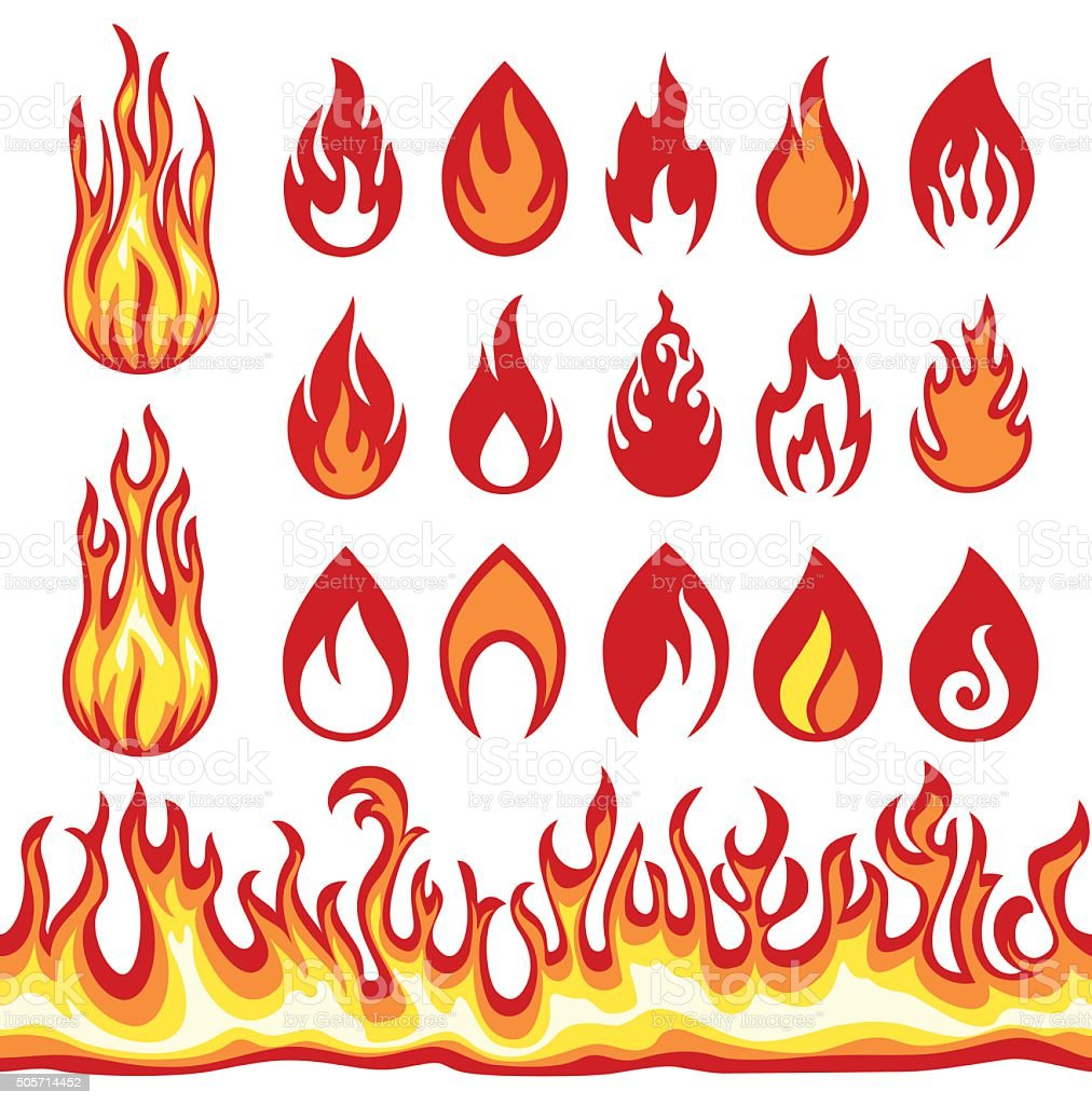 Set of Flame icons. Fire symbols. Vector illustration. vector art illustration