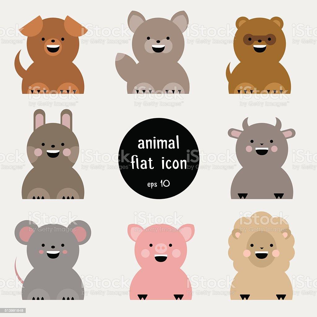 Set of flat animal icon. vector art illustration