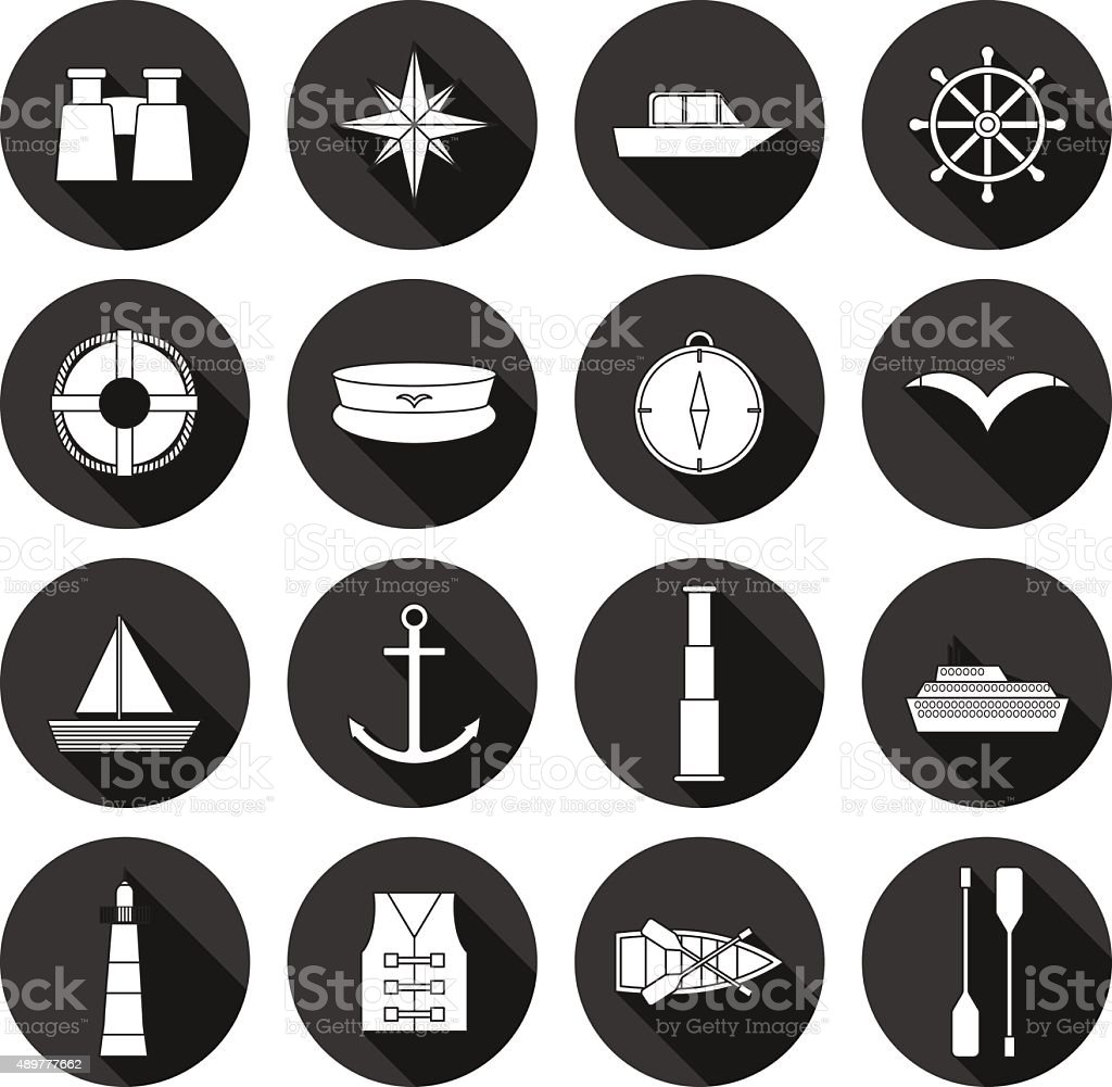 Set of flat boating icons: binoculars, boat, lifebuoy, captain hat vector art illustration