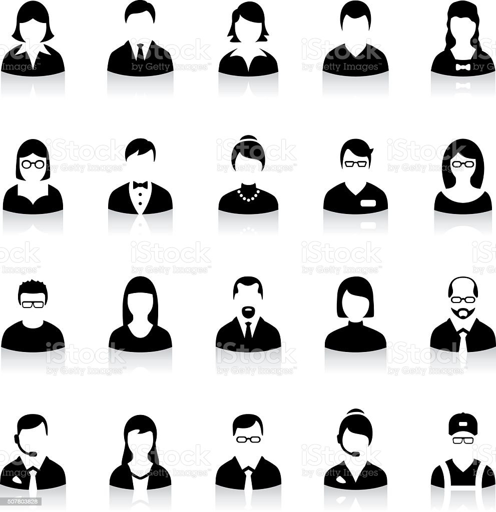 Set of flat business avatar icons vector art illustration