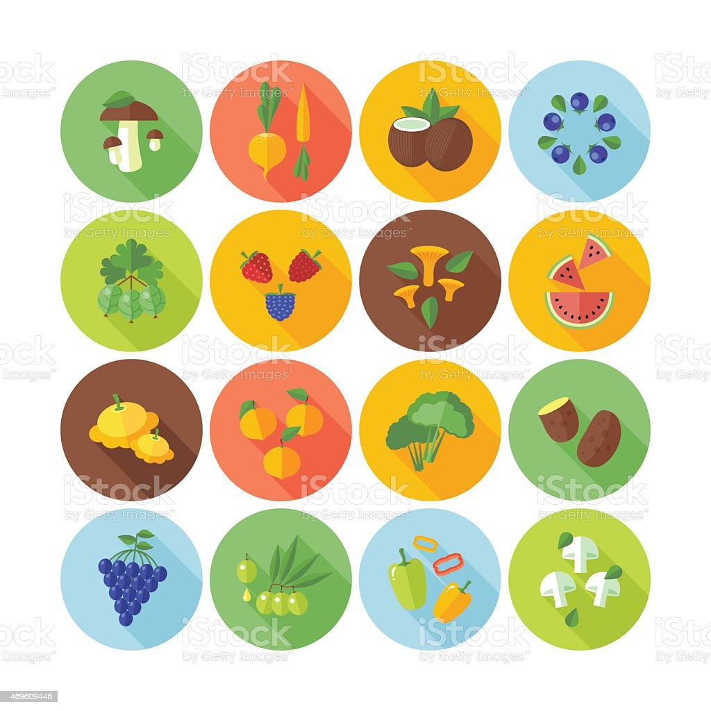 Set of flat circle icons. Fruits, vegetables and  mushrooms. vector art illustration