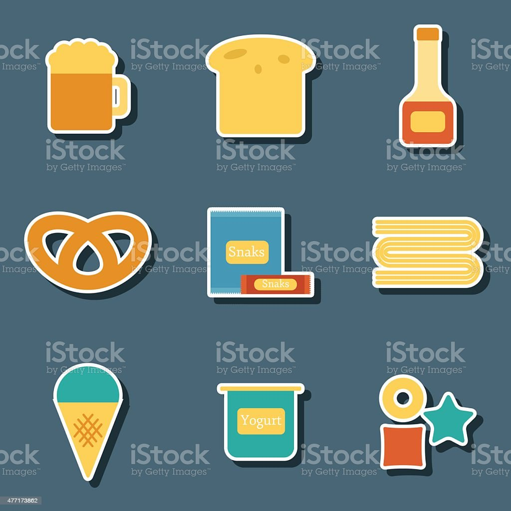 Set of flat colorful stickers with allergic gluten products: bread vector art illustration