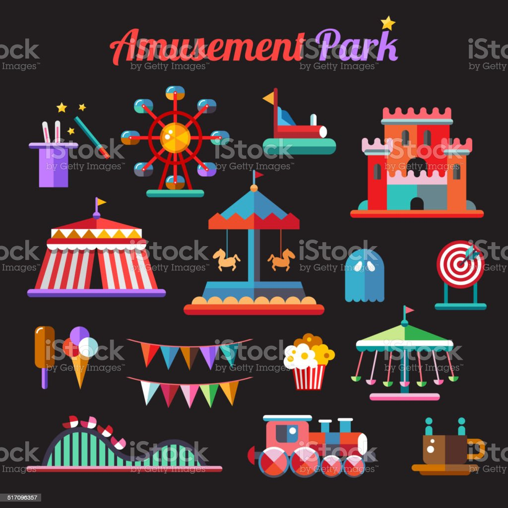 Set of flat design amusement park icons vector art illustration