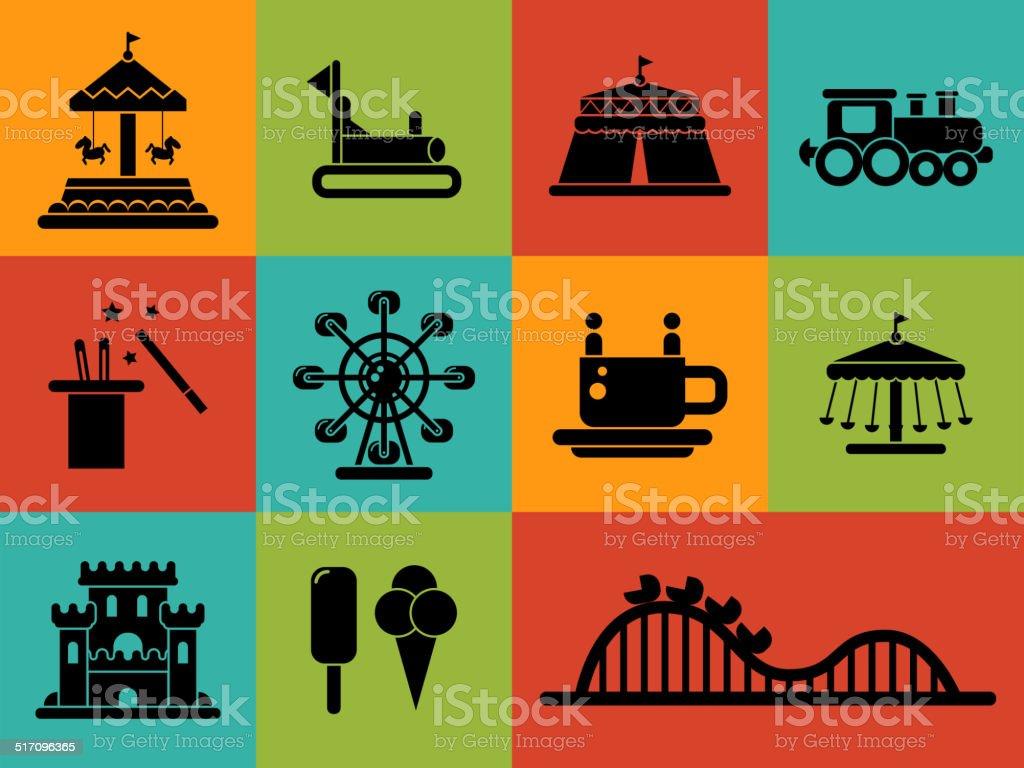 Set of flat design amusement park icons vector art illustration