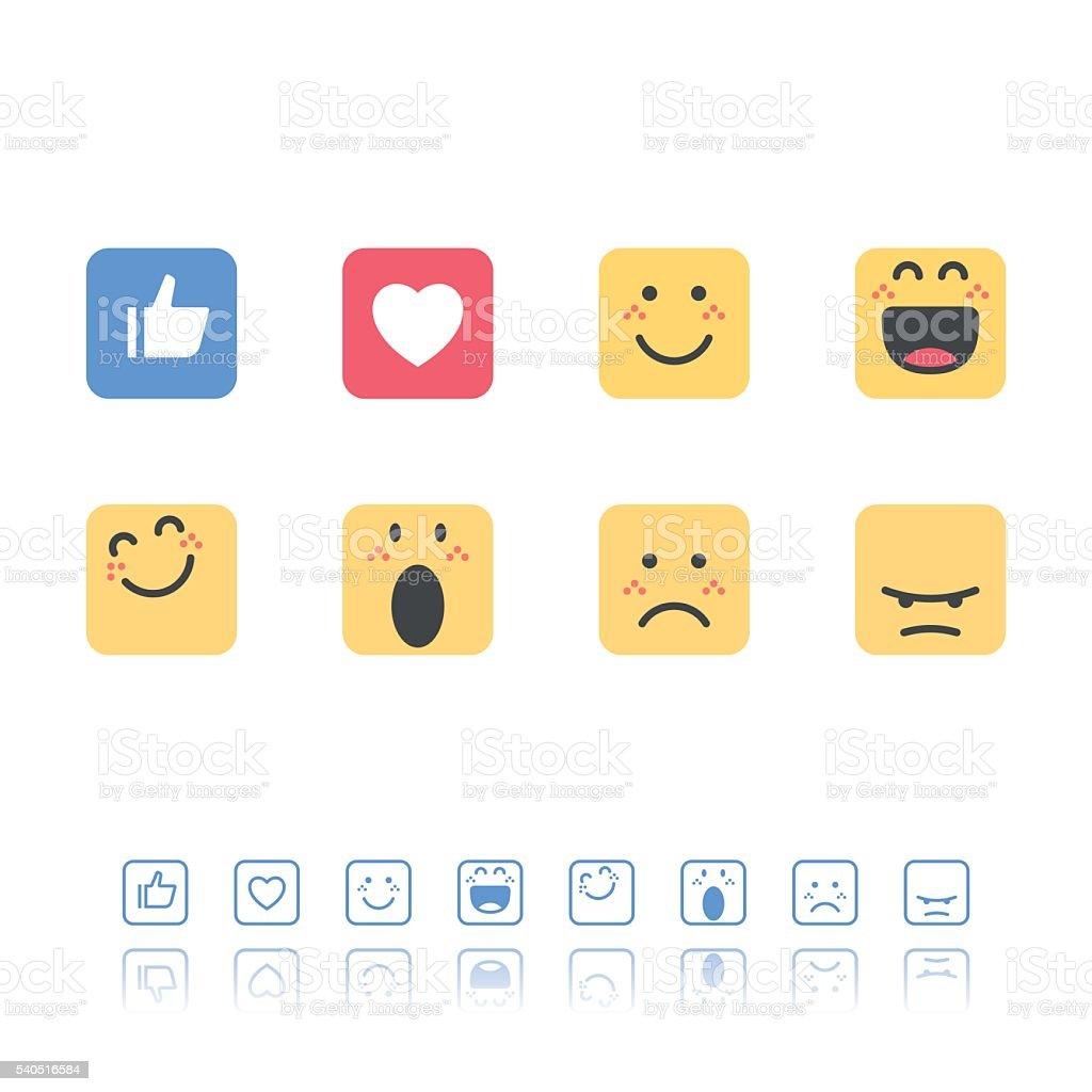 Set of flat design and line art emoticons vector art illustration