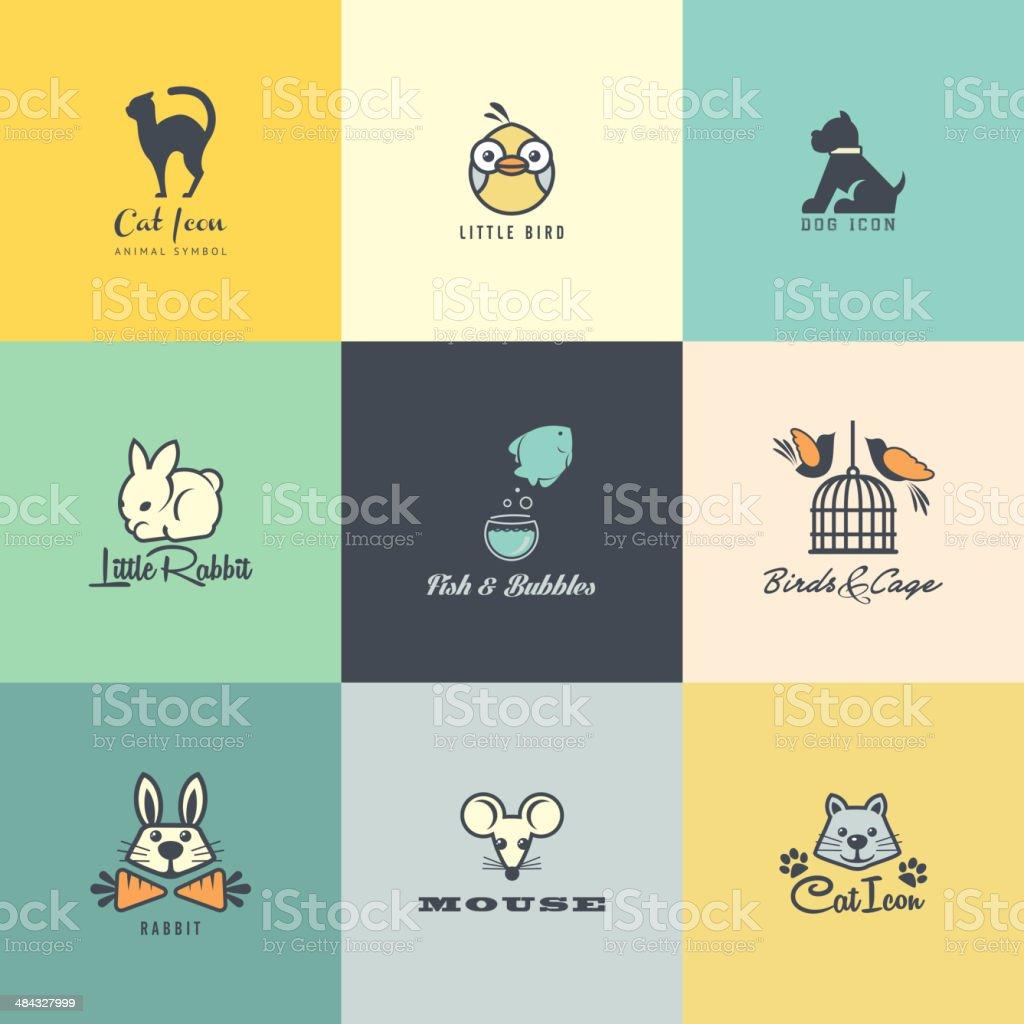 Set of flat design animal icons vector art illustration