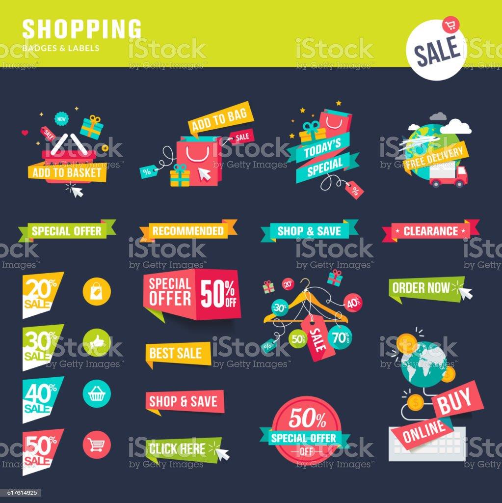 Conjunto de iconos y etiquetas para tarjetas de tiendas illustracion libre de derechos libre de derechos