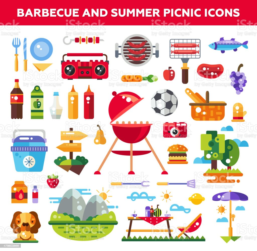Set of flat design barbecue and summer picnic icons, infographics vector art illustration