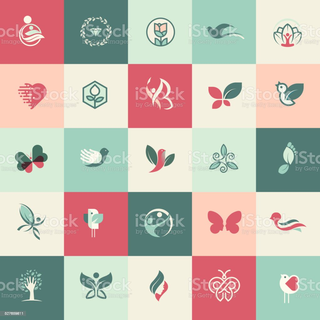 Set of flat design beauty and healthcare icons vector art illustration