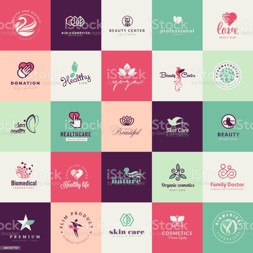 Conjunto de diseño plano Iconos de belleza illustracion libre de derechos libre de derechos