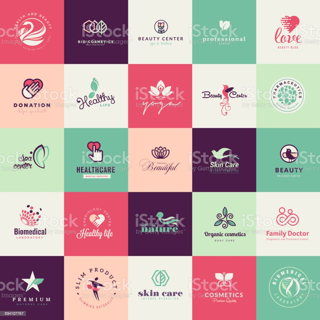 Set of flat design beauty icons vector art illustration