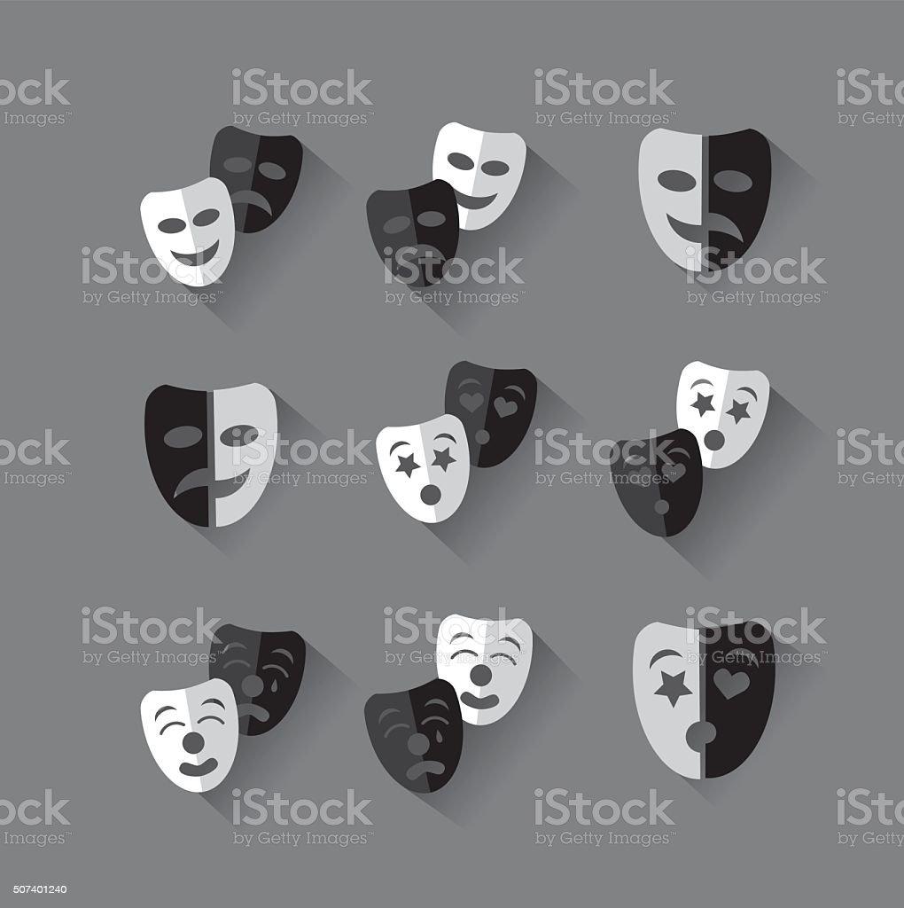 Set of flat design black and white theatrical masks. vector art illustration
