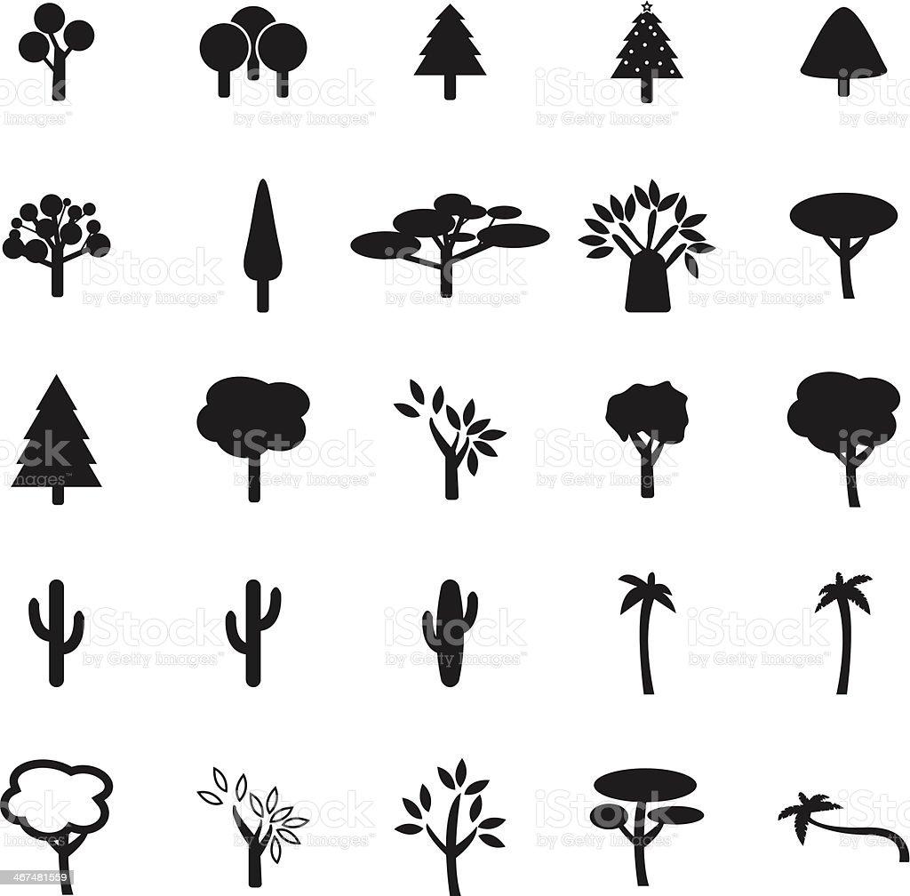 Set of flat design, black and white tree icons vector art illustration