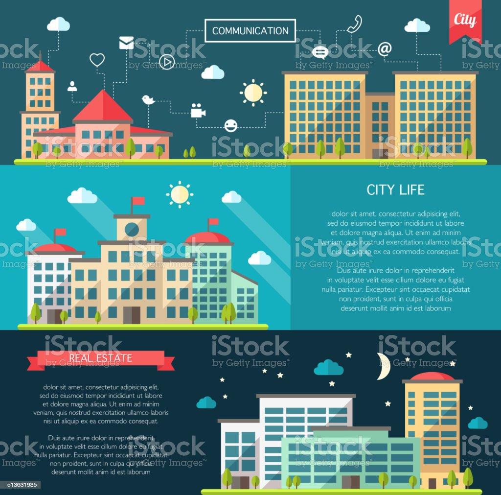 Set of flat design buildings compositions vector art illustration
