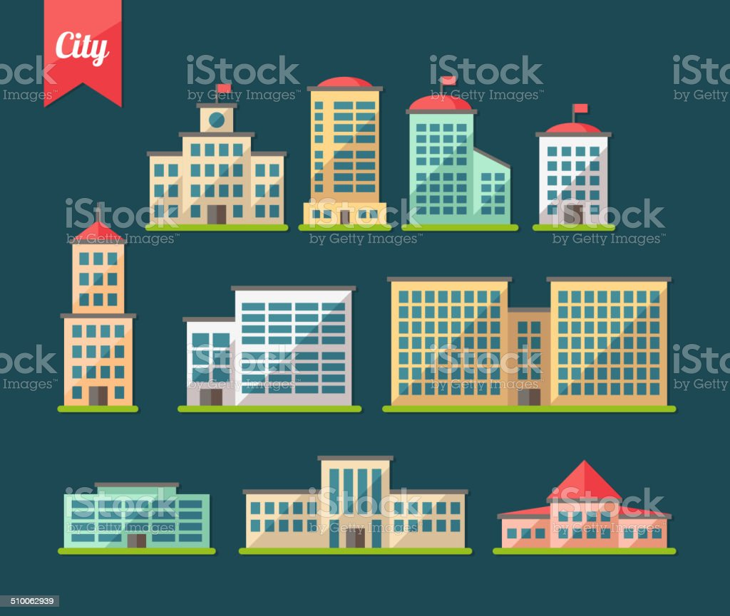 Set of flat design buildings icons vector art illustration