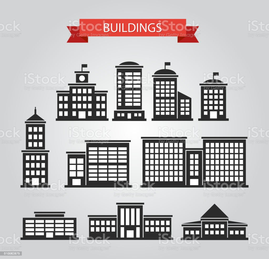 Set of flat design buildings pictograms vector art illustration