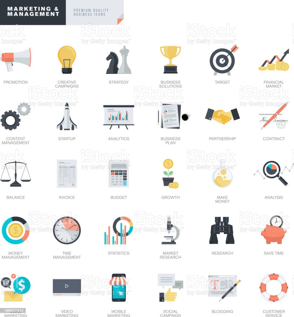 Conjunto de iconos de negocios de marketing y para diseñadores de iconos illustracion libre de derechos libre de derechos