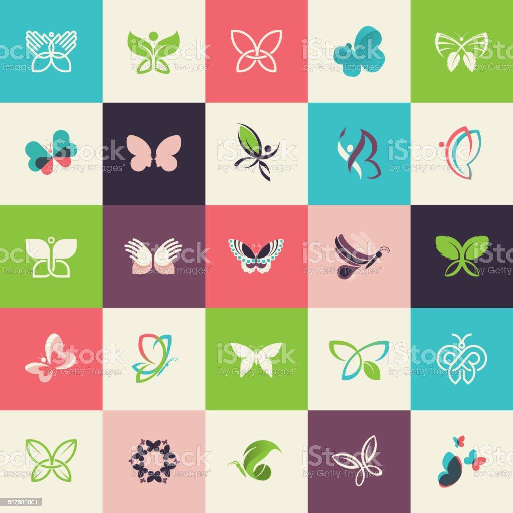 Conjunto de iconos de diseño plano de mariposa illustracion libre de derechos libre de derechos