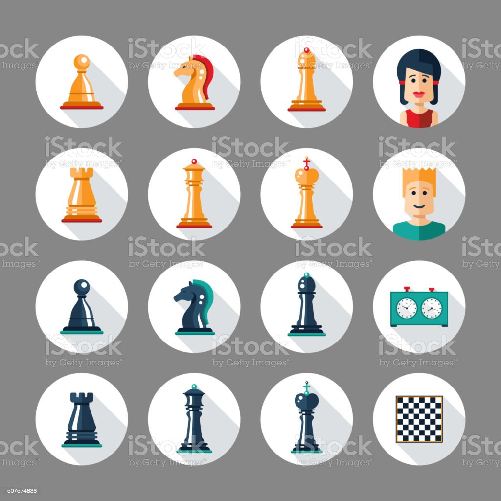Set of flat design chess icons with players vector art illustration