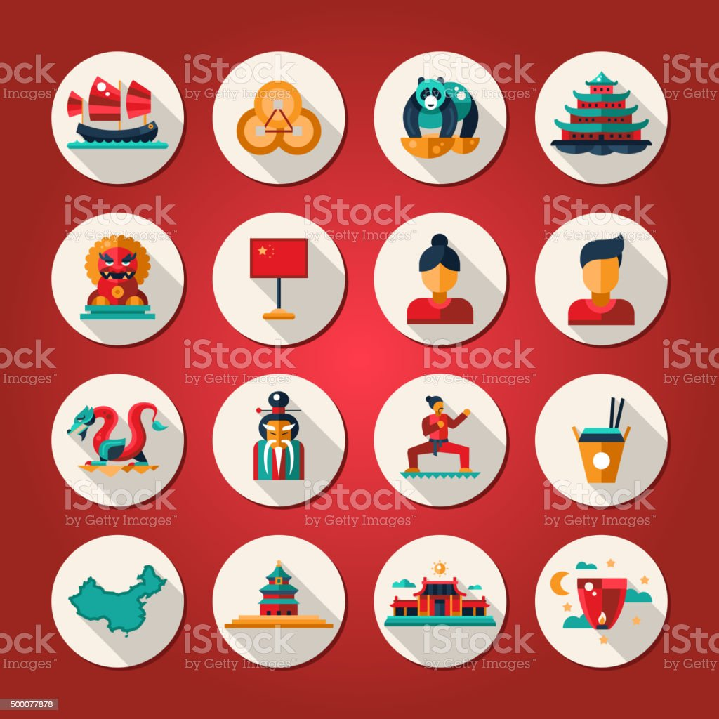 Set of flat design China travel icons, infographics elements with vector art illustration