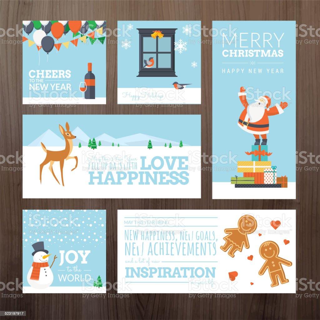 Conjunto de iconos de Navidad y Año Nuevo tarjetas de felicitación illustracion libre de derechos libre de derechos
