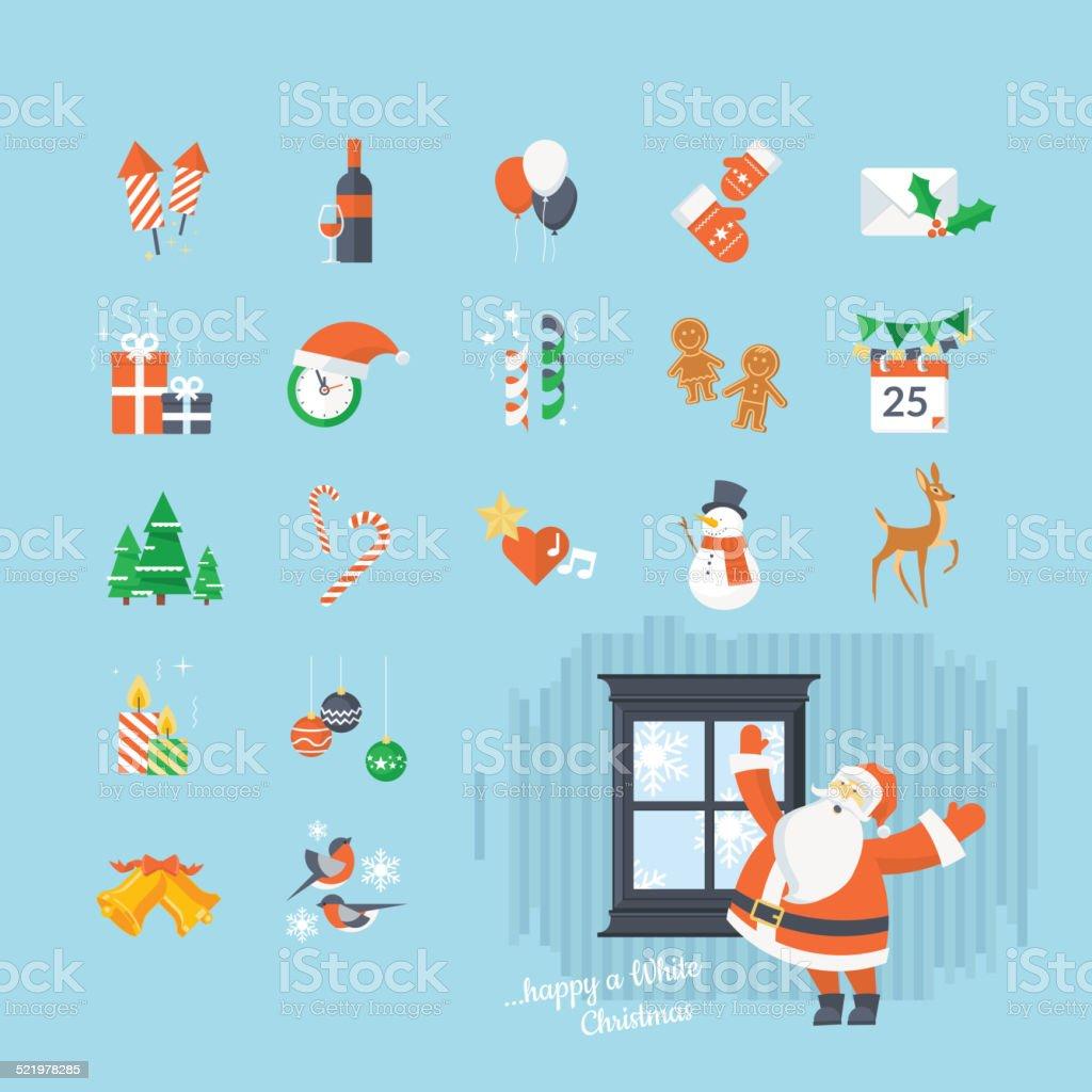 Conjunto de iconos de Navidad y Año Nuevo los iconos illustracion libre de derechos libre de derechos