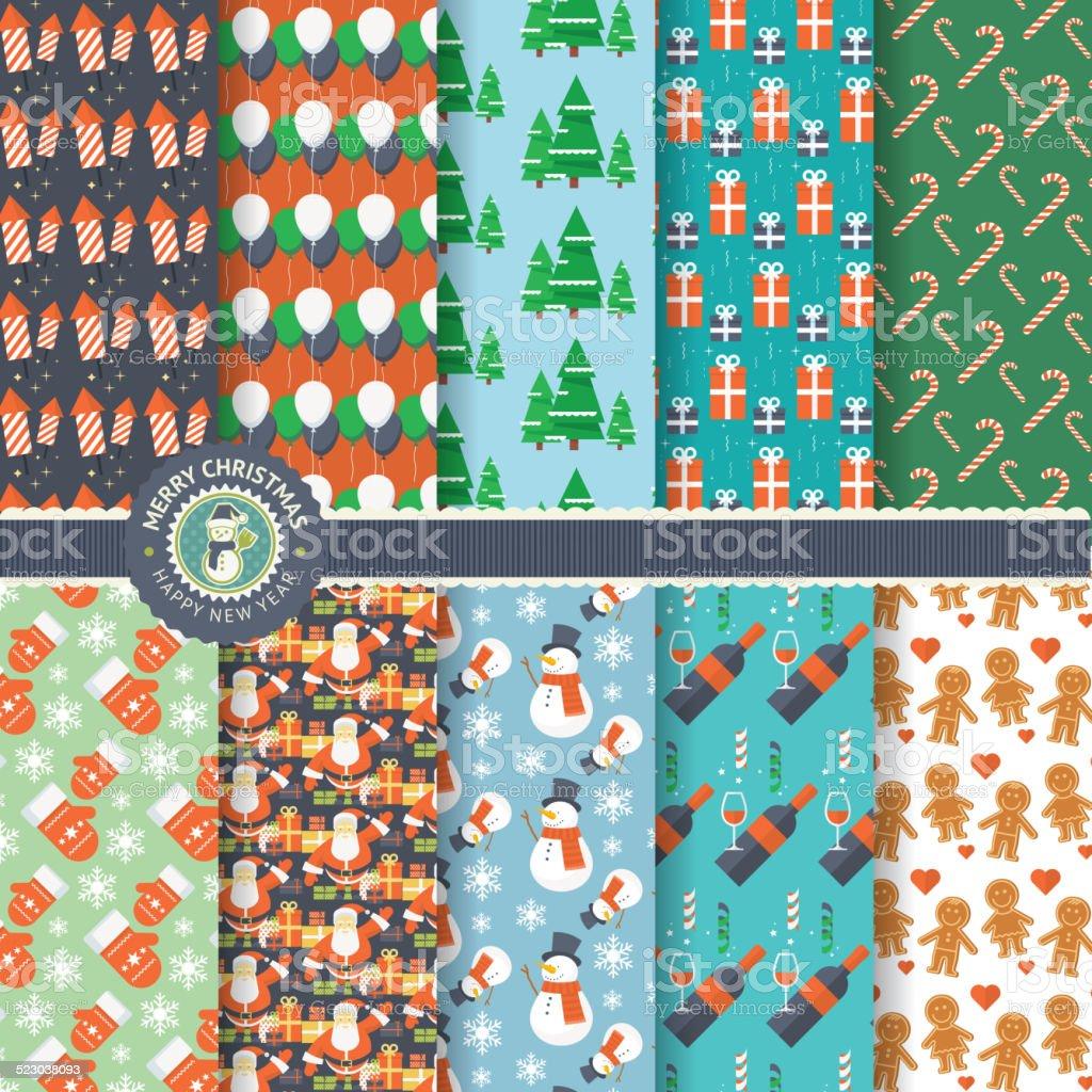Conjunto de iconos de Navidad y Año Nuevo los patrones perfectos illustracion libre de derechos libre de derechos