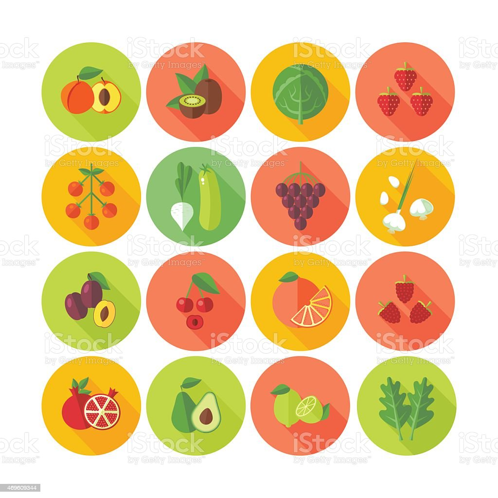 Set of flat design circle icons for fruits and vegetables. vector art illustration