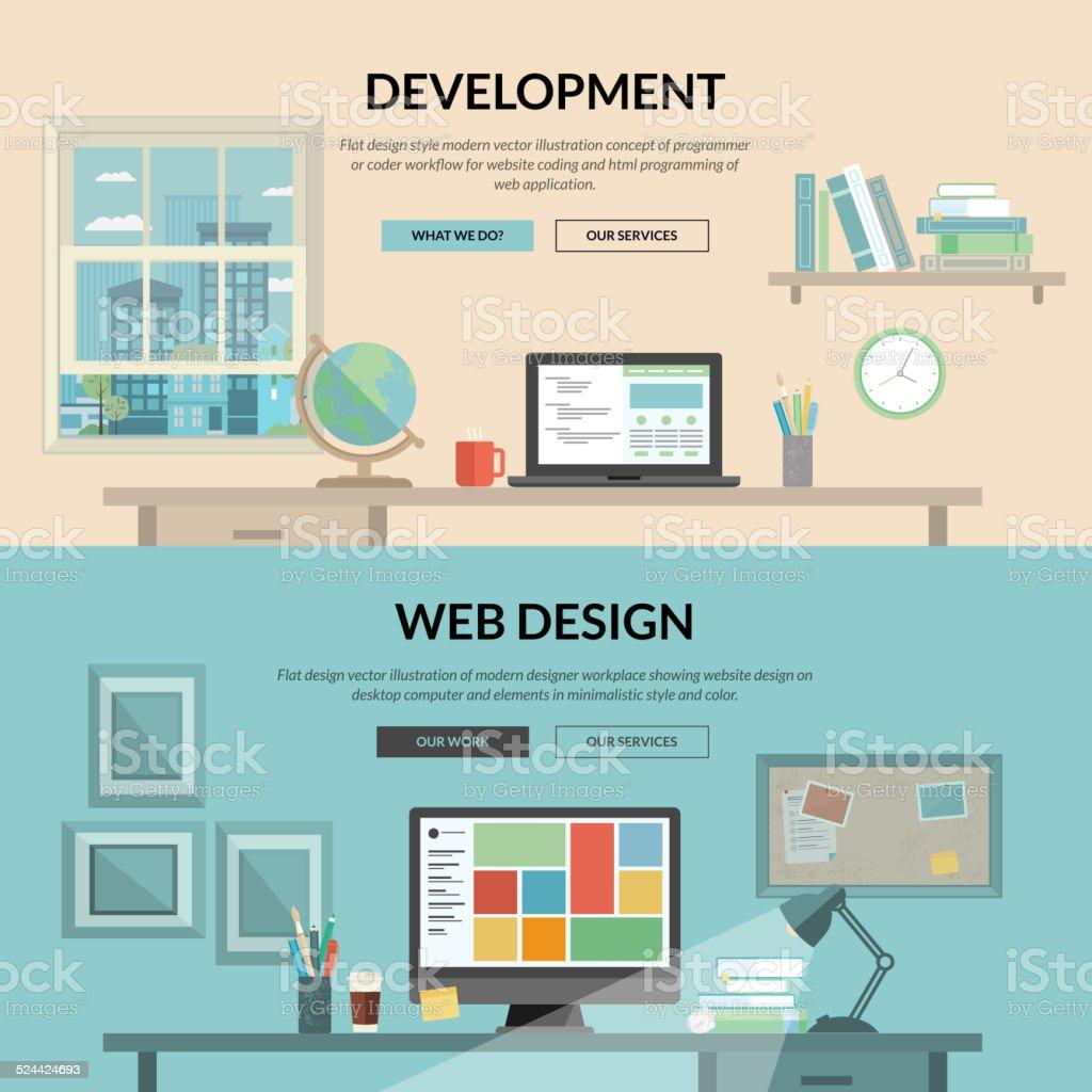 Conjunto de concepto de diseño plano para Desarrollo web illustracion libre de derechos libre de derechos