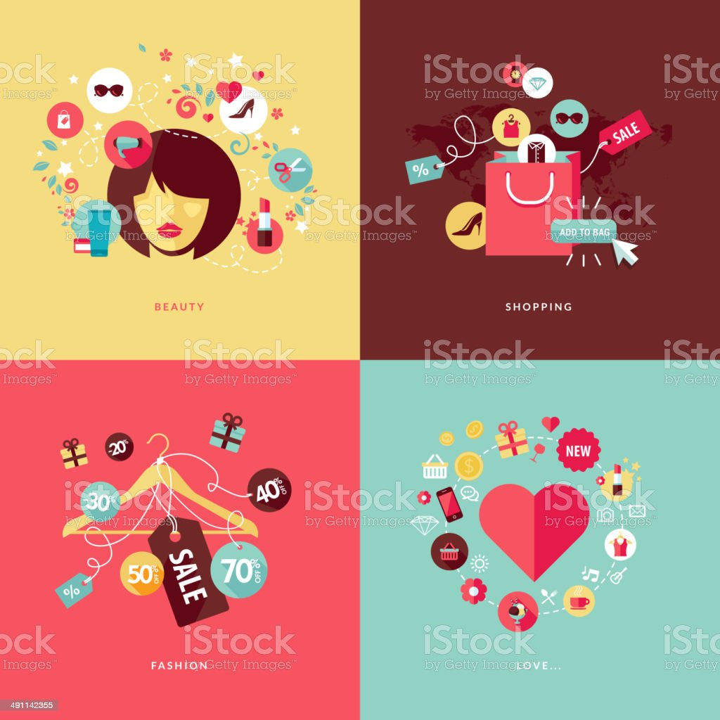 Set of flat design concept icons for beauty and shopping vector art illustration