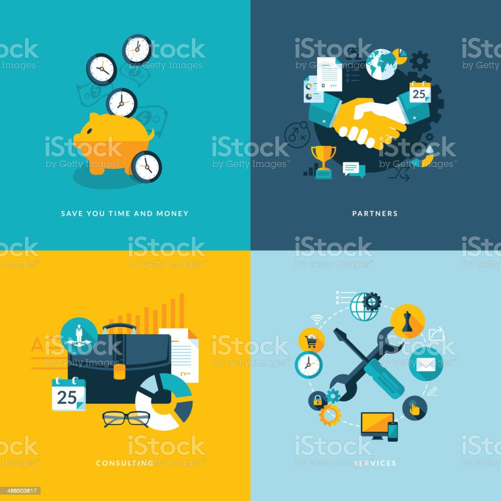 Set of flat design concept icons for business vector art illustration